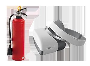 実物の消火器を操作